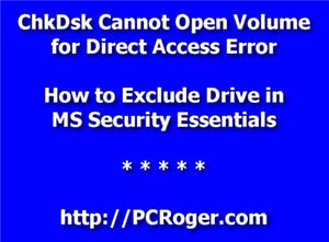 chkdsk cannot open volume