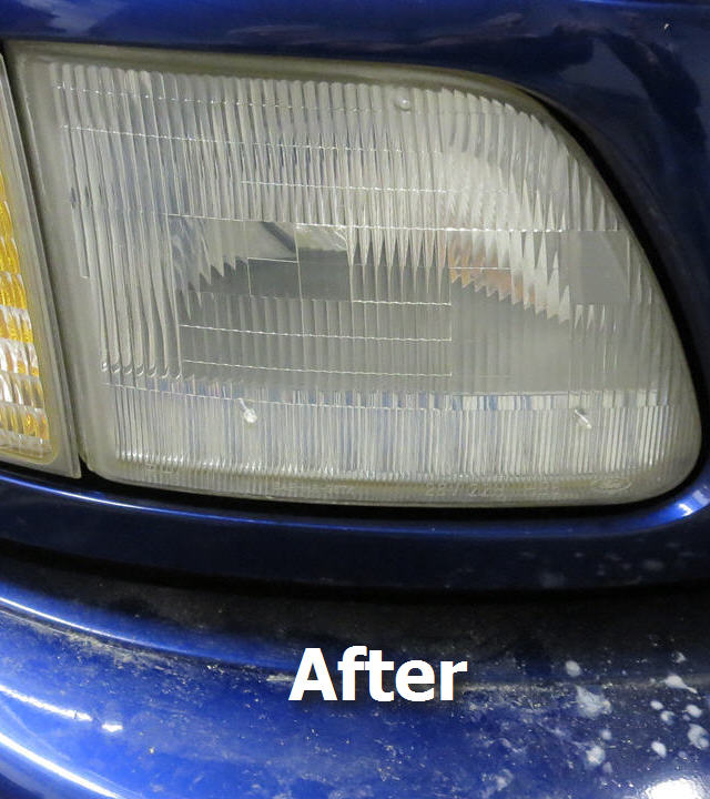 ford f150 truck headlight after restoration