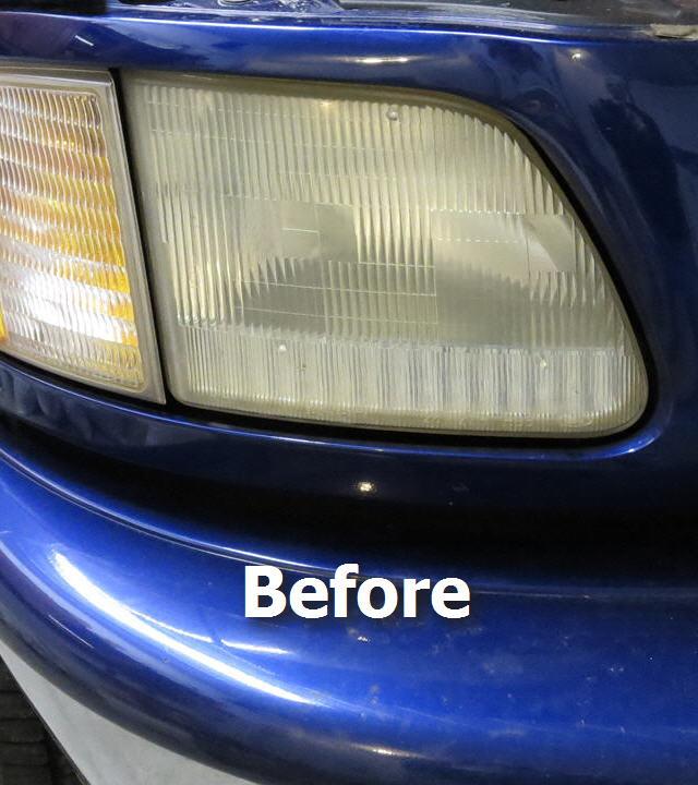 ford f150 truck headlight before restoration