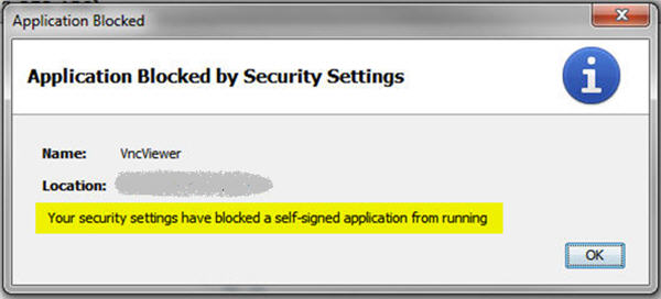 Your Security Settings Have Blocked A Self-Signed Application From Running