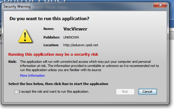 Running This Application May Be A Security Risk